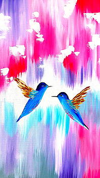 Print Of 2 Hummingbirds by Cathy Jacobs