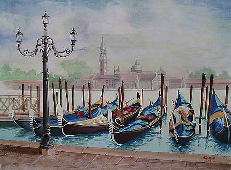 Parking Gondolas in Venice by Charles Hetenyi