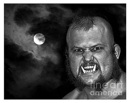 Jim Fitzpatrick - Pro Wrestler War Pig Jody black and white version