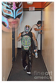 Pro Wrestling Legend Rey Mysterio on His Way to the Ring by Jim Fitzpatrick