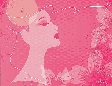 Profile of a woman in pink by Lisa Henderling