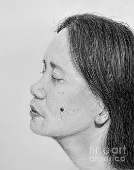Profile Portrait Drawing of a Filipina Beauty with a Mole on Her Cheek  by Jim Fitzpatrick