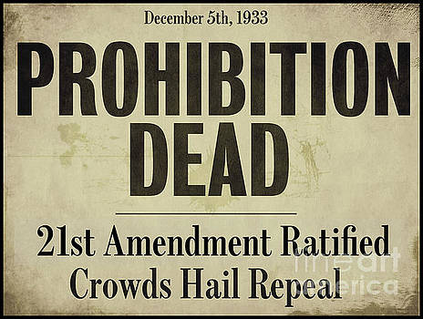 Prohibition Dead Newspaper by Mindy Sommers