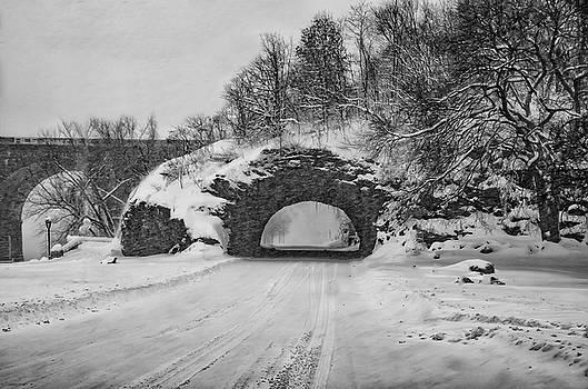 Promatory Rock Tunnel in Winter - Philadelphia  by Bill Cannon
