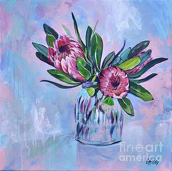 Proteas Painting by Chris Hobel