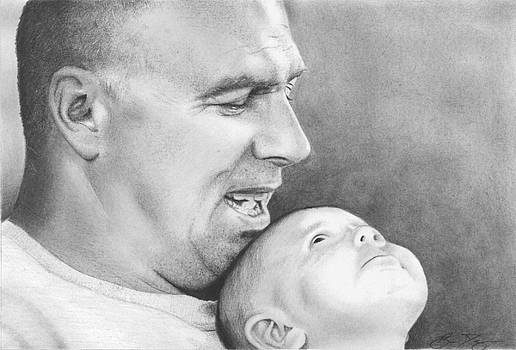 Proud Father Pencil Drawing by Brian Duey