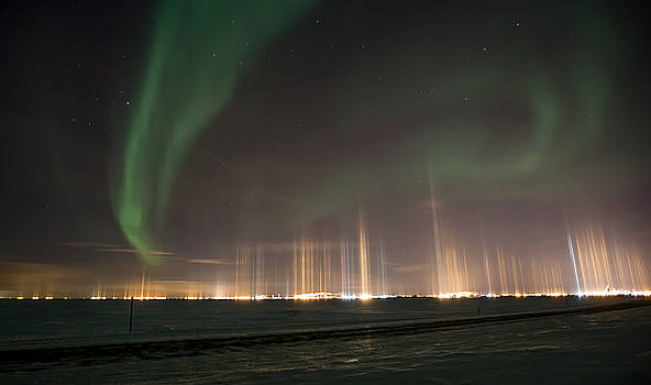 Prudhoe Bay Aurora And Ice Fog Pillars by Sam Amato