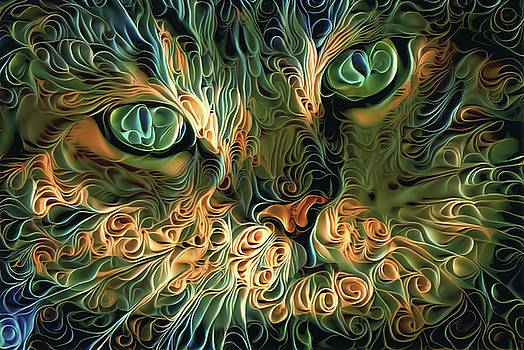 Peggy Collins - Psychedelic Tabby Cat Art