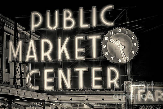 Public Market Center, Seattle bw by Jerry Fornarotto