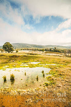 Puddled fields and distant hills by Jorgo Photography - Wall Art Gallery