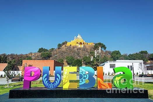 Puebla Sign in Cholula, Mexico by Jess Kraft