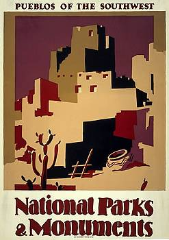 Pueblos of the Southwest, WPA poster, 1935 by Vintage Printery