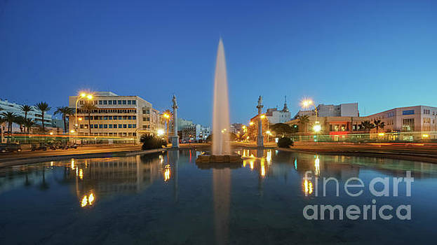 Puerta De Tierra Fountain Blue Hour Cadiz Spain by Pablo Avanzini