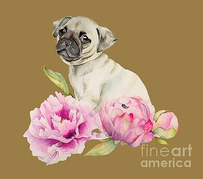 Pug and Peonies - Watercolor Illustration by NamiBear