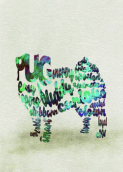 Pug Dog Watercolor Painting / Typographic Art by Ayse and Deniz