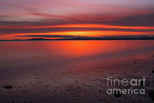 Puget Sound Burning Skies Sunset Reflection Serenity by Mike Reid
