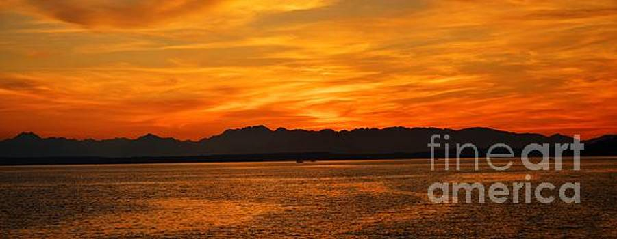 Puget Sound sunset by Frank Larkin