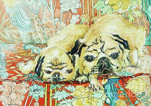Joan Thewsey - Pugs on a Chinese Print Sofa