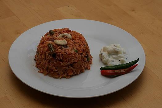 Pulao Rice with Cucumber Raita and chillies by Harish