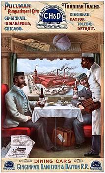 Pullman compartment cars through trains, Cincinnati, Hamilton Dayton Rail Road advertising poster, 1894 by Vintage Printery