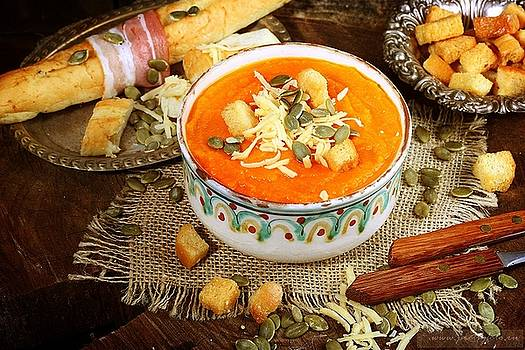 Pumpkin soup with croutons, baguette and ham by Marina Volodko