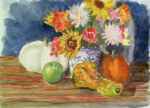 Pumpkins, Gourds and Apple by Thom Duffy