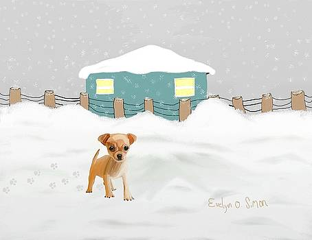 Puppy in the snow by Evelyn O Simon