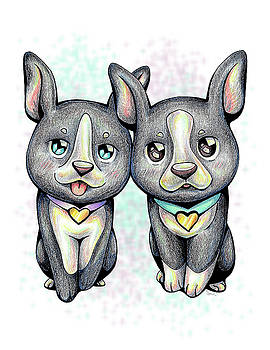 PUPPY LOVE Boston Terrier by Sipporah Art and Illustration