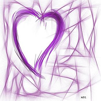 Purple Abstract Heart  by Marian Palucci-Lonzetta