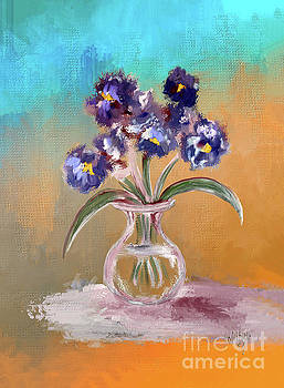 Lois Bryan - Purple and Blue Pansies In Glass Vase