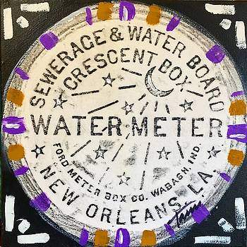 Purple and Gold Nola Water Meter by Tami Curtis
