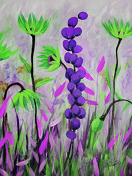 Purple And Green Flowers by Ruth Palmer