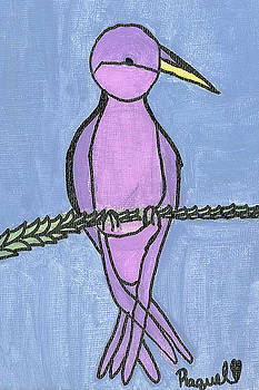 Purple Bird Perched by Fred Hanna