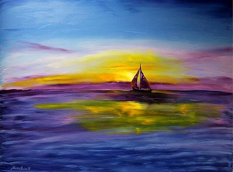 Purple Blue Sails At Sunrise by Portland Art Creations