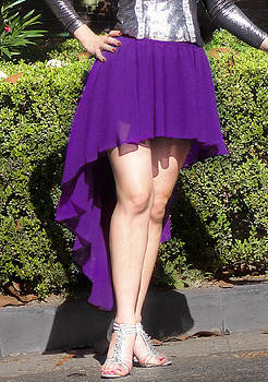 Sofia Metal Queen - Purple chiffon high low skirt. Ameynra simple line 02