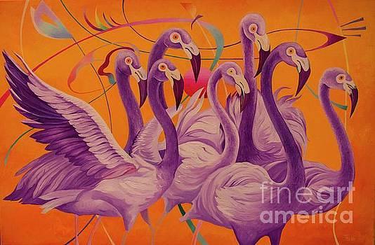 Purple Flamingos by Tatyana Binovska