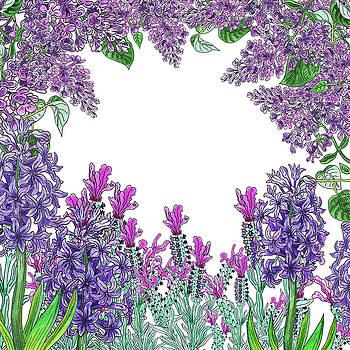 Purple Flowers Watercolor Garden  by Irina Sztukowski