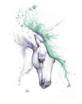 Purple horse with green mane by Angel Tarantella