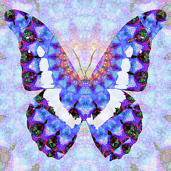 Sharon Cummings - Purple Mandala Butterfly Art by Sharon Cummings