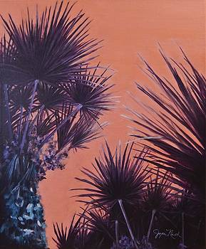 Purple Palms by Joyce Nash