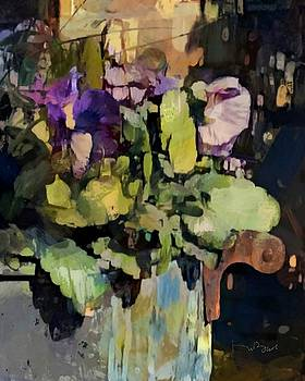 Purple Pansies in an Old Copper Bucket by Don Berg