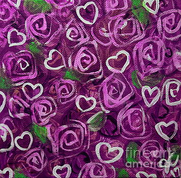 Purple Roses and Hearts by Jackie Carpenter