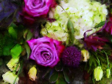 Purple Roses with Hydrangea by Sand And Chi