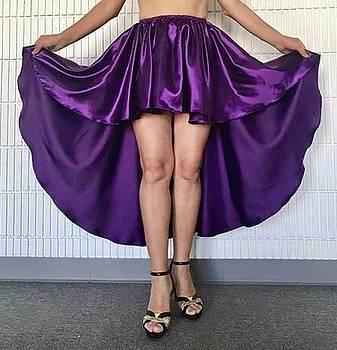 Sofia Metal Queen - Purple satin high low skirt. Ameynra by Sofia