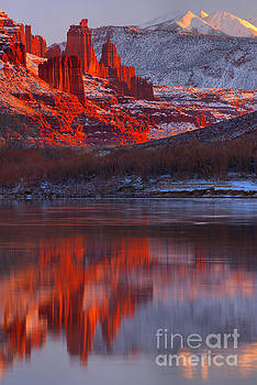 Purple Skies And Red Towers by Adam Jewell