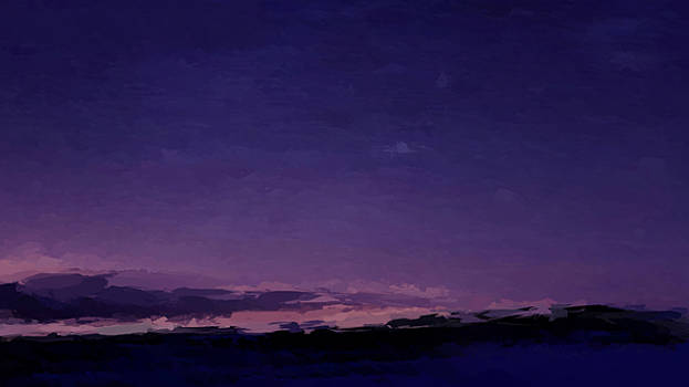 Purple Sunset Over Beach  by Anthony Fishburne