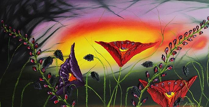Purple Sunset Poppies #1 by Portland Art Creations