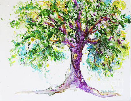 My Utterly Charming Purple Tree watercolor by CheyAnne Sexton