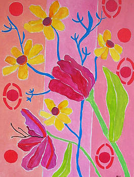 Purple Tulips and Cosmos by Martin Silverstein