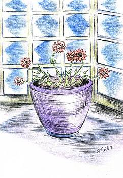 Purple Vase with Flowers  by Teresa White